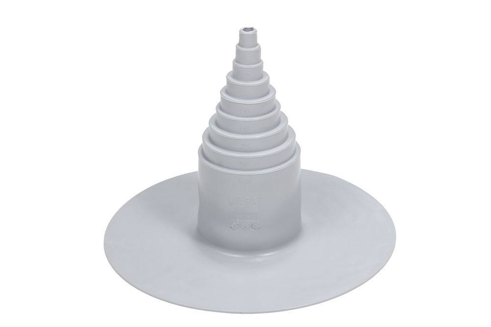 Těsnící střešní průchodový prvek z PVC Ø 12-100 mm, světle šedá RAL 7040